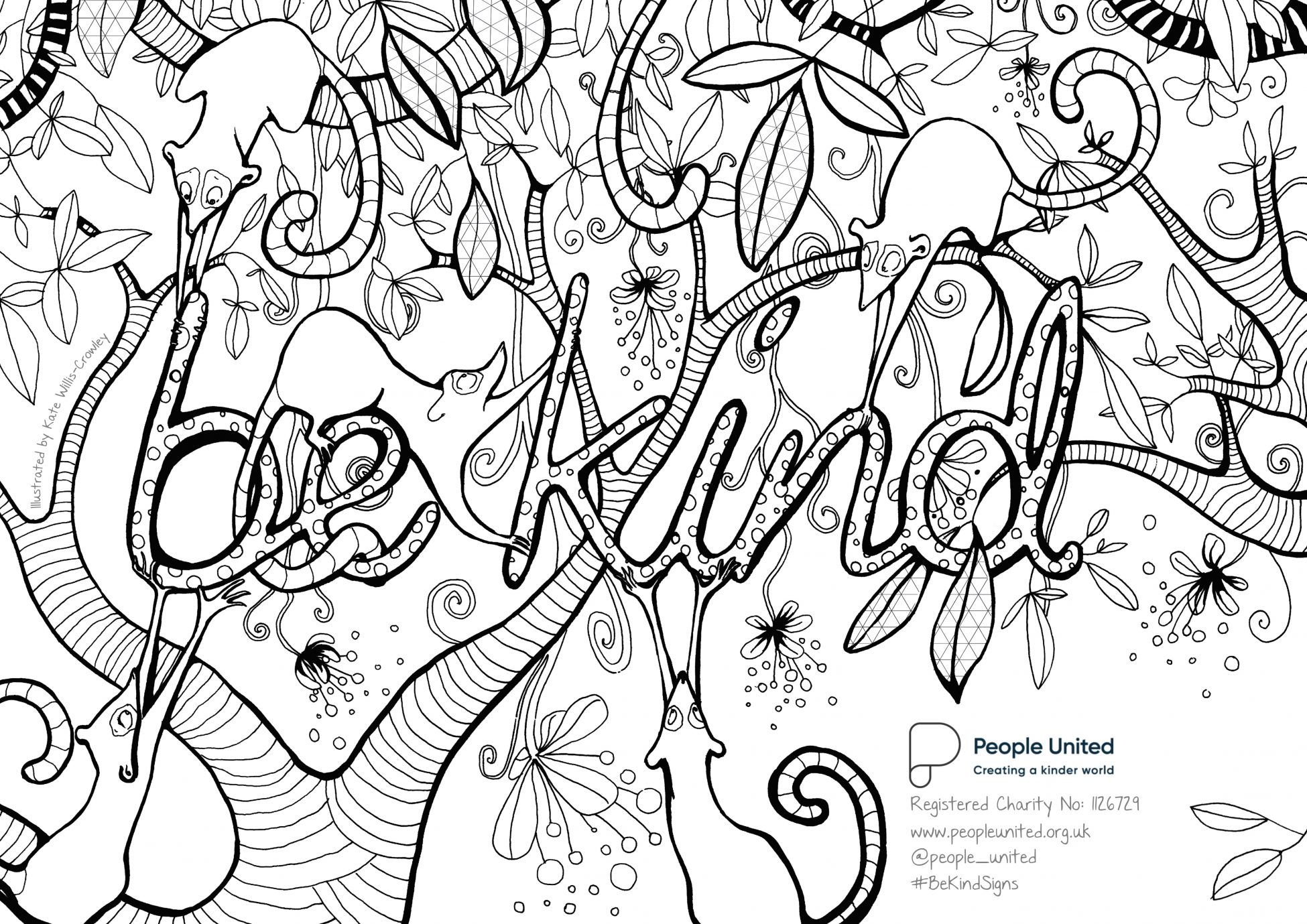 A black and white illustration/line drawing designed to be coloured in by the user. The words