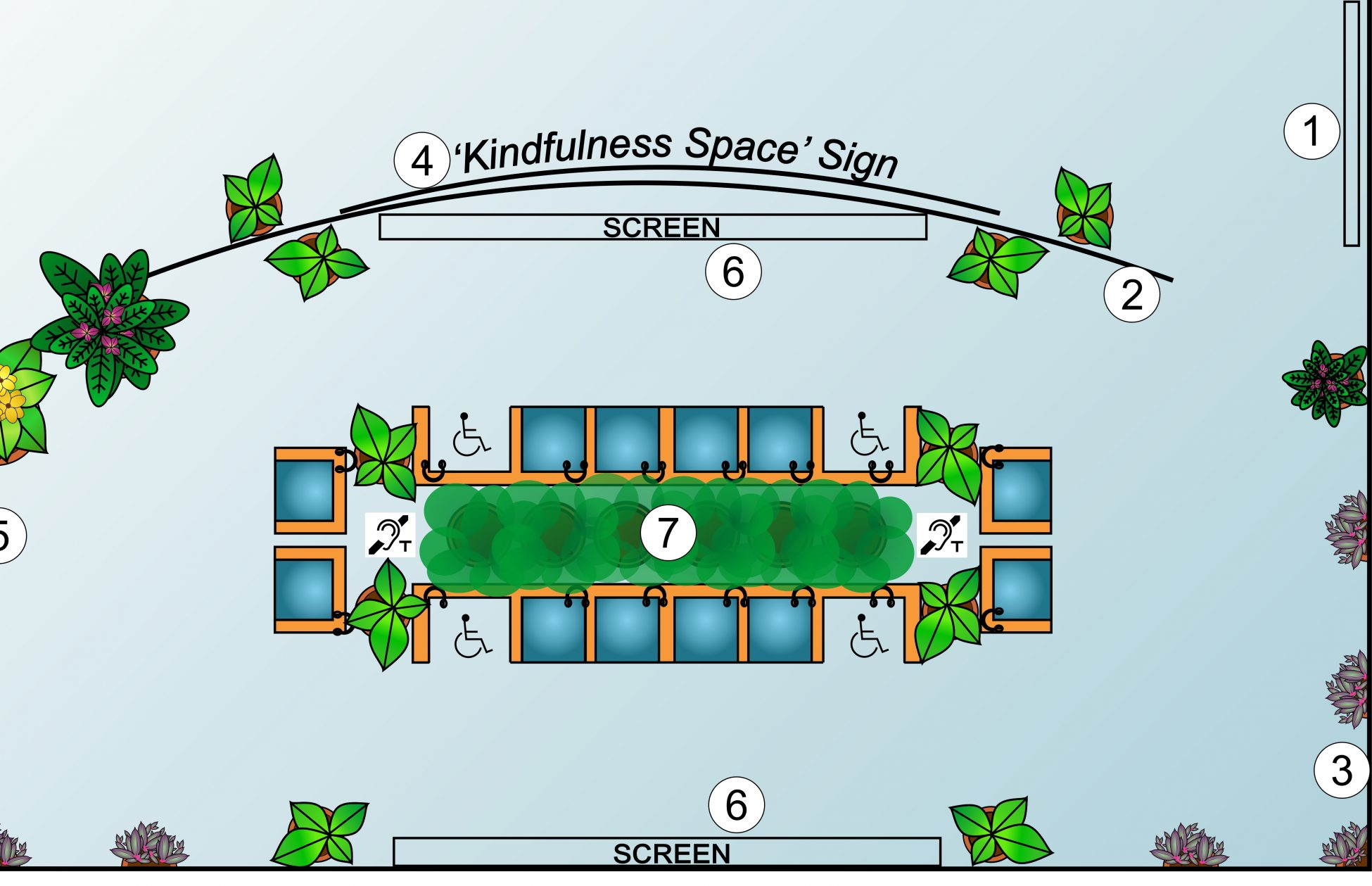 A digital aerial design of a kindfulness space. There are potted plants around the edge and blue chairs in the middle with symbols for headphones, wheelchair spaces and hearing loops.