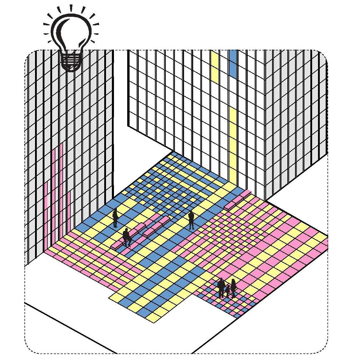 An isometric line drawing showing two tall square buildings - like office blocks or sky scrapers - with a large flat open space between them. Each building exterior is made of rectangular windows, and the lines form these windows have been carried on into the open space, where they intersect, creating a grid. The grid has been coloured with yellow, pink and blue shapes, with the pink shapes being carried on to the side of the first building, and the yellow and blue shapes being carried on to the side of the second building.